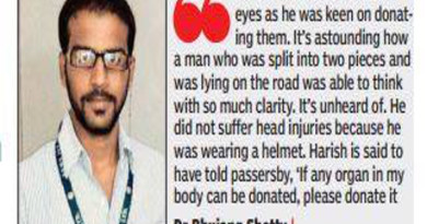 Man split into two in accident donates organs