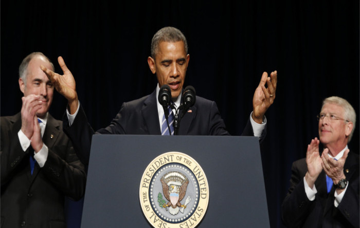 Barack Obama greets Dalai Lama