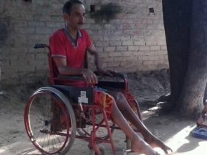 Mr. Gopal Khandewal in his wheelchair