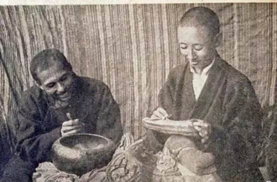 Gendun Chophel With An Indian Scholar Inspecting Some Antiques Around 1938