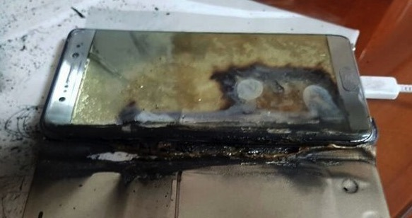 Picture of a particular case of the smartphone having caught fire