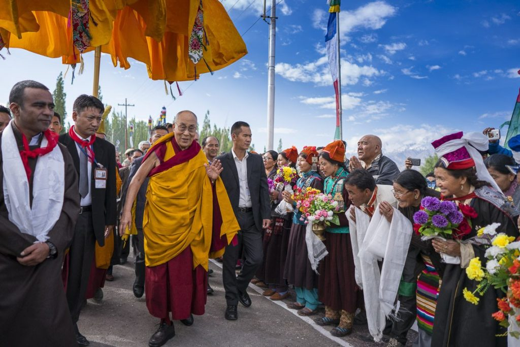 His Holiness walking to the Shiwatsel teaching ground