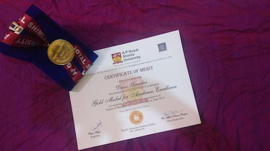 Dawa Tsamchoe's Gold Medal
