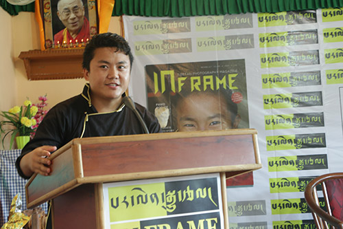 Kalsang Jigme, founder of InFrame adressing the audience.