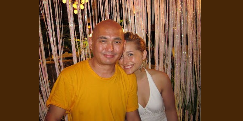 Lama Tenzin is pictured with Allison Mack.