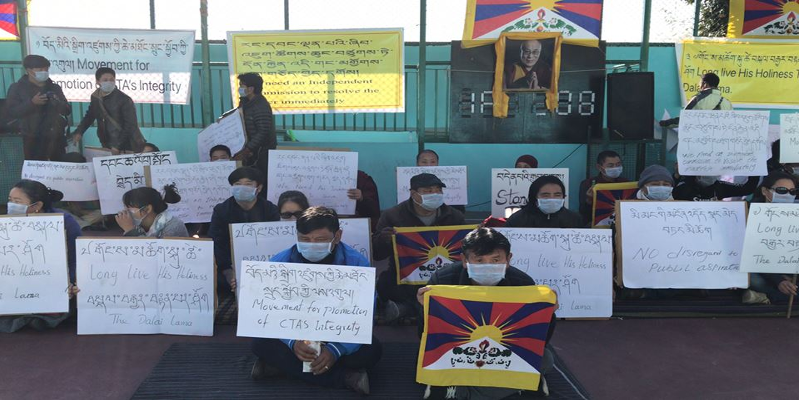 Tibetans Stage Demonstration Near CTA Dharamshala