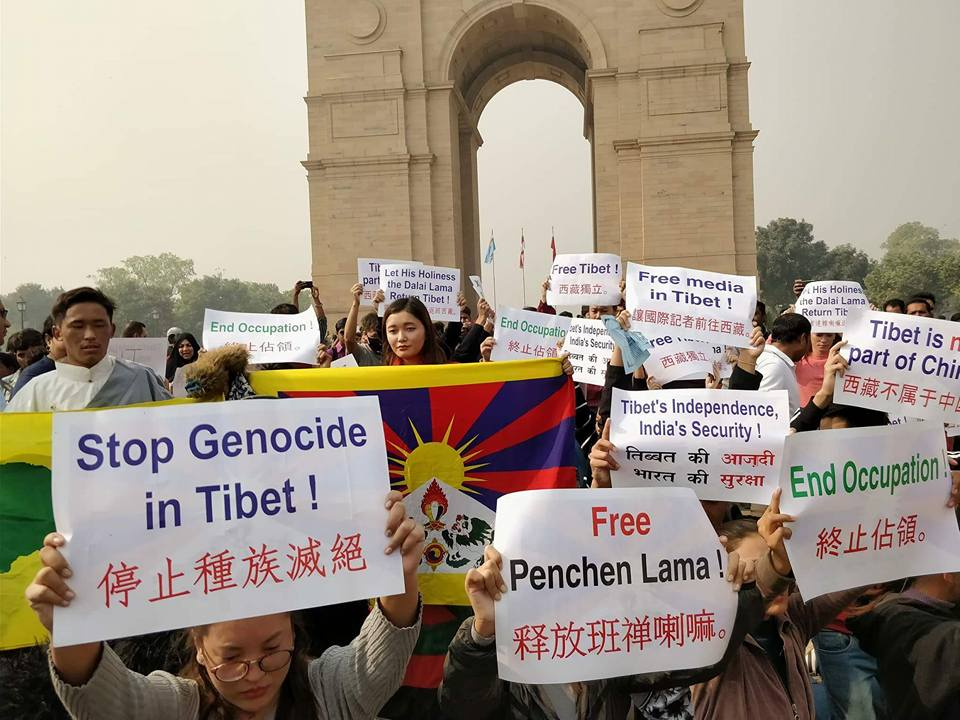 Peace rally against Chinese control over Tibet held in New Delhi, India