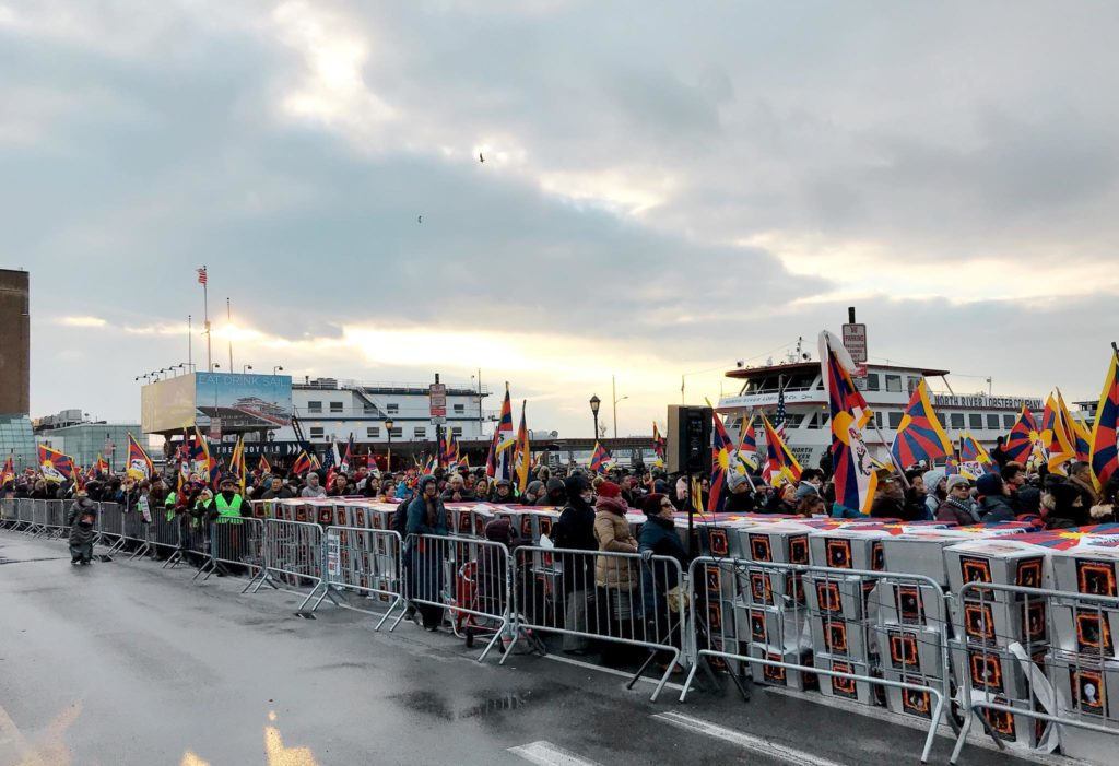Thousands of Tibetans marchesi in the cold streets of New York calling for human rights in Tibet
