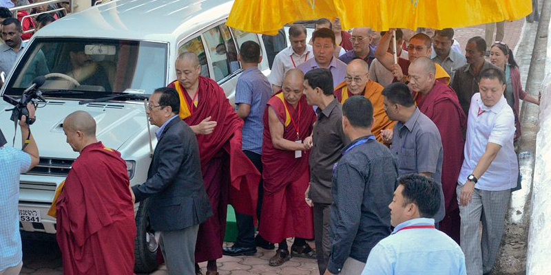Dalai Lama Traveling From Mundgod To Bylakuppe By Road