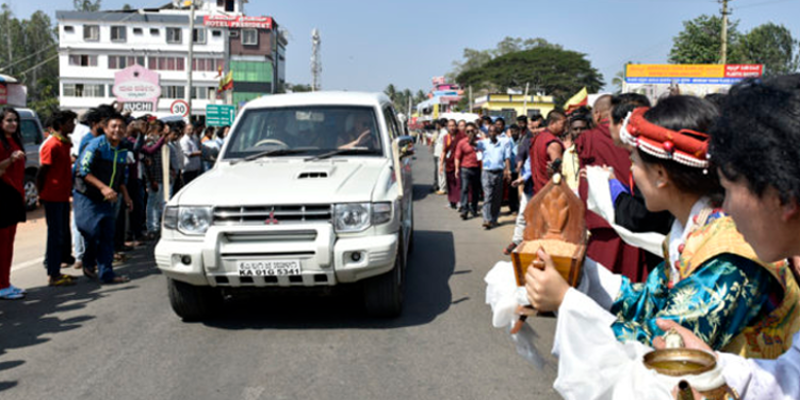 His Holiness The Dalai Lama Arrives In Bylakuppe