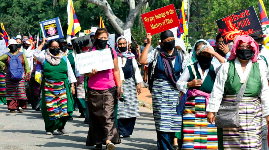 Peace rally for human rights in Tibet in Mysuru, India