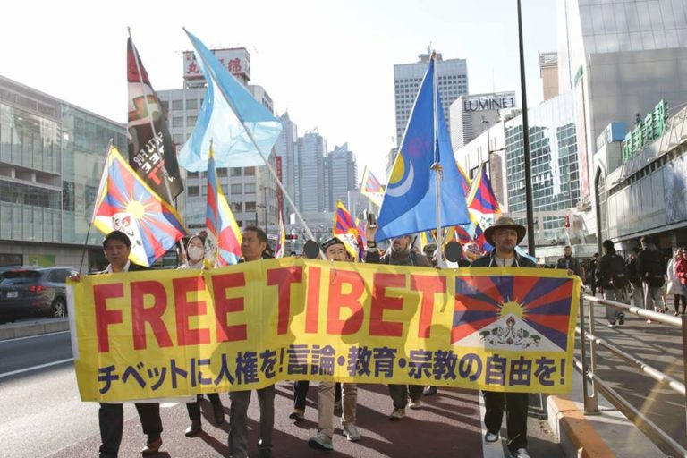Peace rally for human rights in Tibet at Tokyo, Japan.