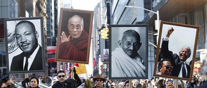 The Tibetans carrying out the Pictures of the World human rights icons