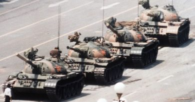 An unidentified man stood in front of a column of tanks on June 5, 1989, the morning after the Chinese military had suppressed the Tiananmen Square protests of 1989 by force.