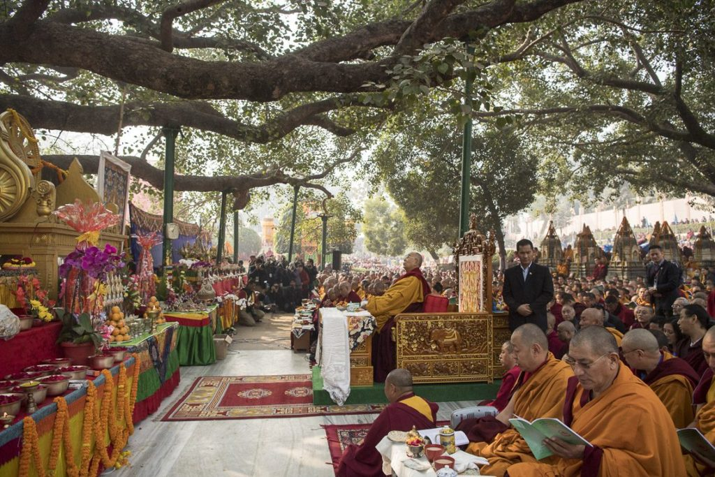 His Holiness took his seat facing the Bodhi Tree and the Seat of Enlightenment