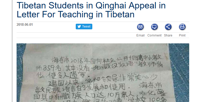 Tibetan Students Appeal for Teaching in Tibetan Besides Mandarin