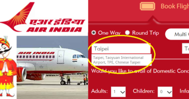 Air India Bows China and Lists Taiwan as Chinese Taipei