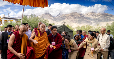 His Holiness the Dalai Lama Arrives in Zanskar by Helicopter