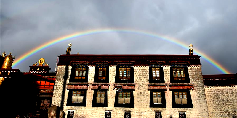 Beautiful Rainbow Captured Over Tibet's Jokhang Temple