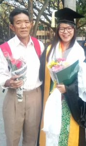 Ngawang Saldon with her father during the ceremony