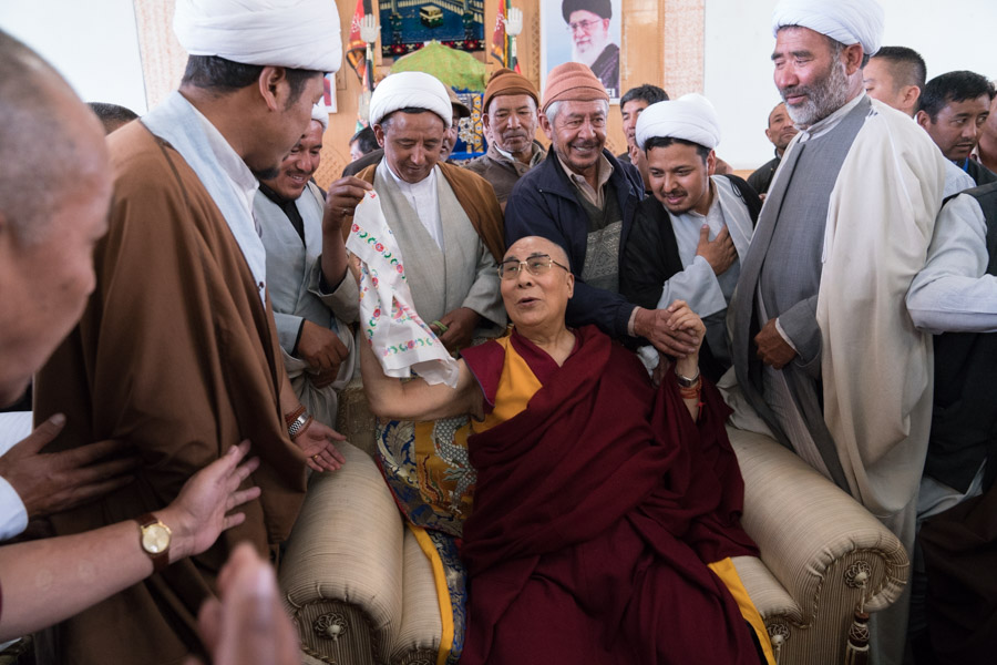 His Holiness with the representatives of the muslim community in Ladakh