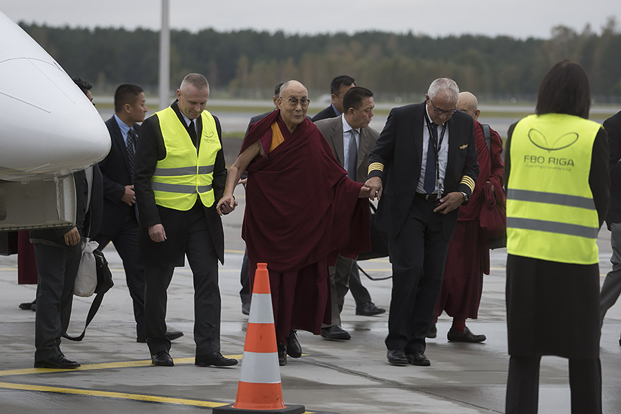 His Holiness the Dalai Lama Arriving in Latvia