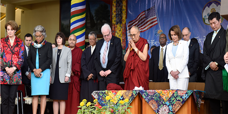 Dalai Lama Joins Public Felicitation Of Eight US Politicians Visiting Dharamshala
