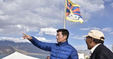 Tibetan Political Leader Hoisted Tibetan Flag At Lake Bordering Tibet