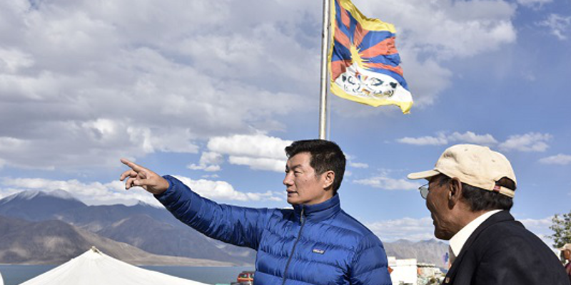 Tibetan Political Leader Hoisted Tibetan Flag At Lake Bordering Tibet