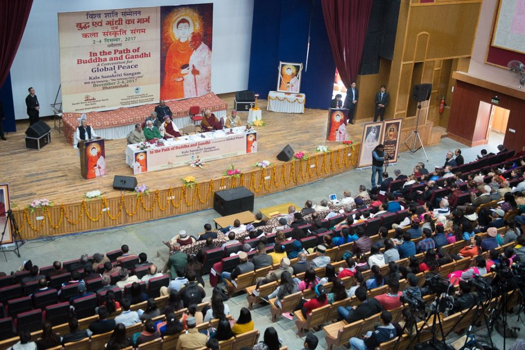 His Holiness the Dalai Lama at the 'Convention for Global Peace in the Path of Buddha and Gandhi', organised by Gandhi Smriti in collaboration with Central University of Himachal Pradesh