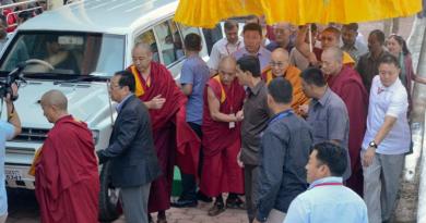 Dalai Lama Traveling From Mundgod To Bylakuppe By Road