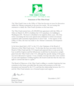 Statement of The Tibet Fund