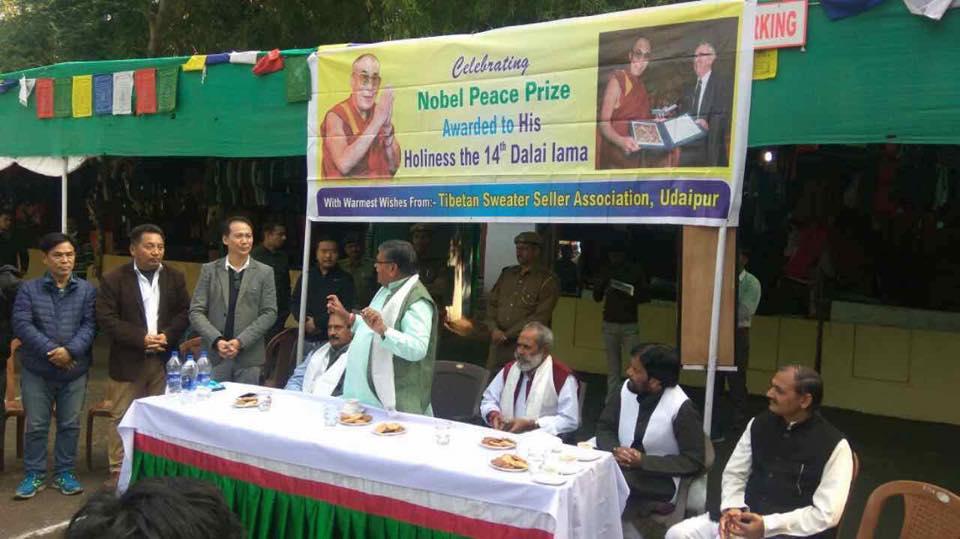 Tibetan vendors celebrating Nobel Peace prize day with Indian dignitaries