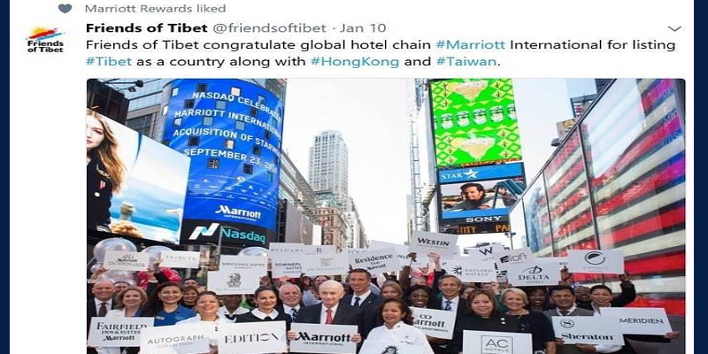 China Accuse Marriott of Insincerity in Apology for Listing Tibet As a Country