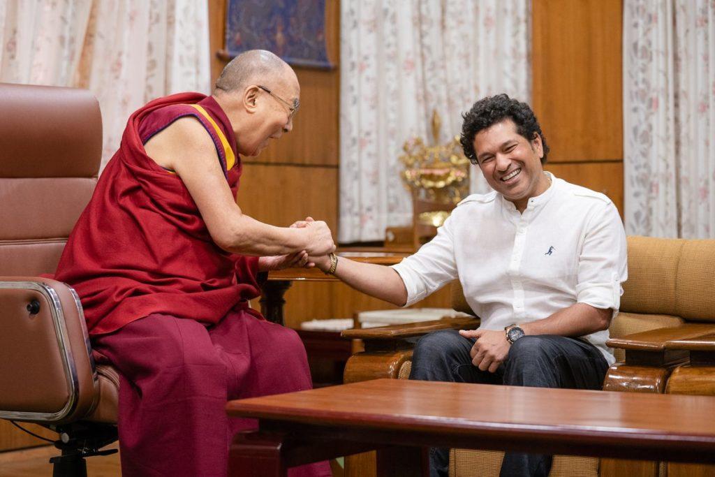 Cricketer Sachin Tendulkar Meets the Dalai Lama